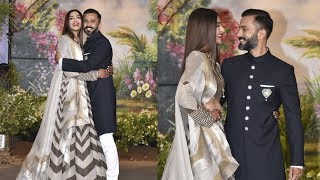 Sonam Kapoor Makes A Grand Entry With Husband Anand Ahuja At Her Wedding Reception