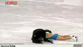 Jessica Dube gets hit by ice skate