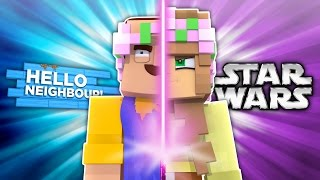 HELLO NEIGHBOUR VS STAR WARS! Minecraft Little Kelly w/LittleLizard