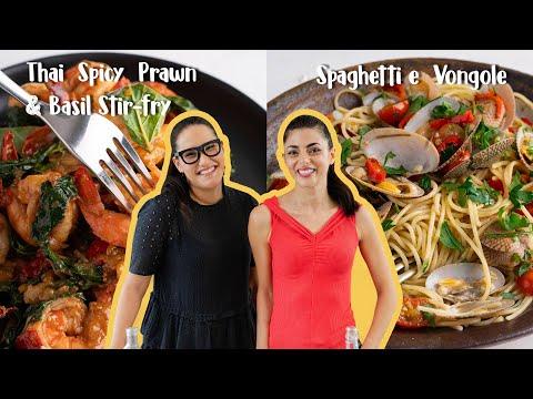 Marion & Silvia Make 20-minute Dinners   Prawn & Basil Stir-fry & Spaghetti Vongole   WOK x POT Ep 3