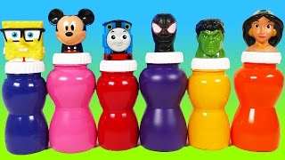 Mickey Mouse Disney Princess Spongebob Superheroes Surprise Toys for Children Learn Colors