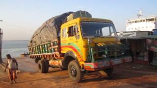 Daulatdia Ferry Ghat...Truck struggling hard.