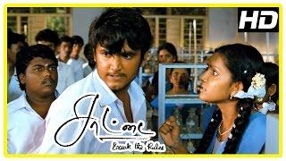 Saattai Tamil movie scenes | Samuthirakani teaches English to students | Mahima angry at Yuvan