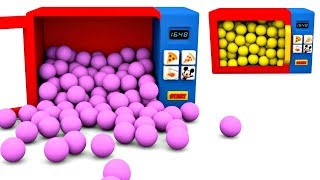 Learn Colors with Microwave Toy and Surprise Eggs Kids Learning Videos