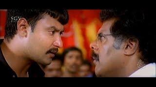 Darshan hit his father in Public    Darshan Best Scenes   Kannada Movies