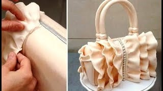 How To Make a Ruffle Fashion Handbag Cake  by CakesStepbyStep