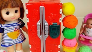 Baby doll surprise play doh eggs and refrigerator toys baby Doli play