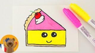 KAWAII CAKE DIY | adorable part de gâteau pour une carte d'anniversaire ou une invitation