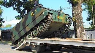 Self Loader Truck Transporting Military Vehicle APC M113 Infantry Batalyon 412 Raider Kostrad