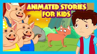 Animated Stories For Kids - The Fox Without Tail, Alice In Wonderland and Three Little Pigs