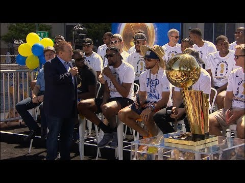 Steph Curry Kevin Durant and Draymond Green speak before Warriors' championship parade