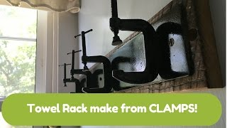 How to make an industrial style towel rack from clamps!