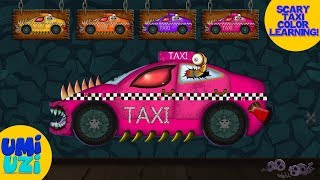 Umi Uzi | scary taxi | learn colors with street vehicles | Halloween videos for kids