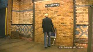 Harry porter look alike tries to go through 9 3/4 platform in real life