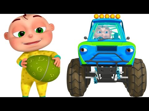 Five Little Babies Driving Transport Vehicles Surprise Eggs For Kids Toy Trucks
