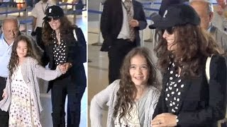 Salma Hayek Catches Flight At LAX With Adorable Daughter Valentina And Parents