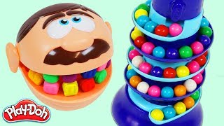 LEARN COLORS Feeding Mr. Play Doh Head Rainbow Gumballs from Dubble Bubble Candy Dispenser!