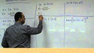 مشتقة دالة اللوغاريتم الطبيعي   derivative of natural logarithmic function