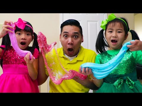 Jannie & Emma Making Satisfying Slime w Funny Colored Surprise Balloons