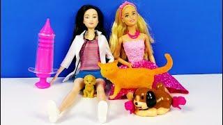 BARBİE'NİN HAYVAN DOSTLARI HASTALANMIŞ VETERİNERDE İĞNE OLDULAR L Barbie Pretend Play For Kids