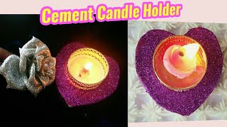 cement candle holder/DIY How to make/heart shape candle holde/handmade/diya holder/artmypassion 21