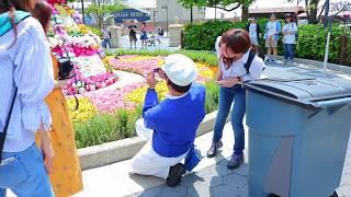 イースターのお花の前で記念写真♪【ファンカストーディアル】