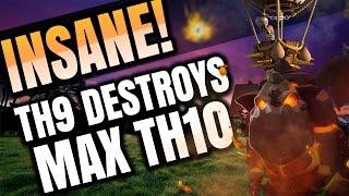Clash of Clans: TH9 DESTROYS MAX TH10