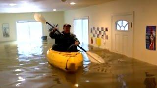 Woman Kayaks Inside Own House