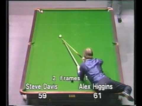 Unusual shot by Alex Hurricane Higgins to beat Steve Davis Snooker