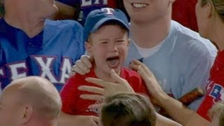 Crying Rangers Fan Loses Foul Ball to Adults | Good Morning America | ABC News
