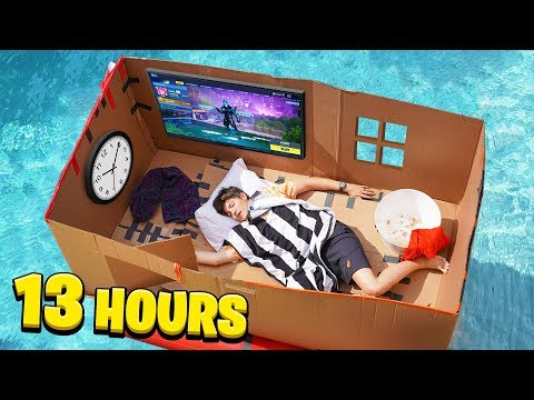 I Spent 24 HOURS on a CARDBOARD Box BOAT