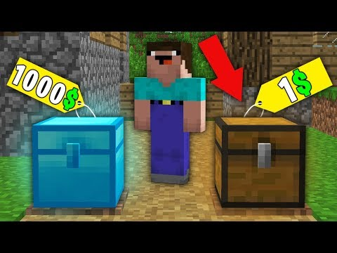 Minecraft NOOB vs PRO NOOB BOUGHT DIAMOND CHEST FOR 1000 VS CHEST FOR 1 Challenge 100 trolling