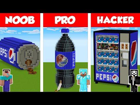 Minecraft NOOB vs PRO vs HACKER PEPSI HOUSE BUILD CHALLENGE in Minecraft Animation