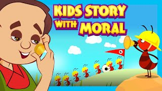 Kids Story With Moral - The Ant and Grasshopper, Jack and The Beanstalk and The Miser and His Gold