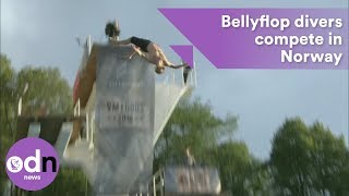 Professional bellyflop divers compete in Norway