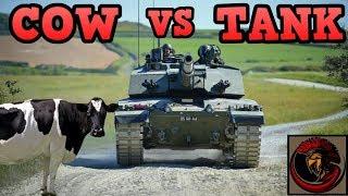 Challenger 2 Tank vs Cows