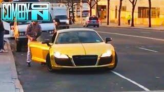 Homeless Man Steals a Gold Supercar (Social Experiment)!!!