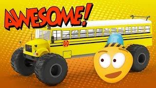 Monster Truck School Bus | Construction Game | Educational Cartoon Video for Kids