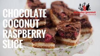 Chocolate, Coconut & Raspberry Slice | Everyday Gourmet S7 E90
