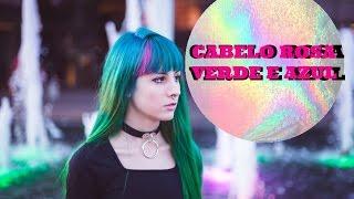 Cabelo verde azul e rosa com anilina  tinta issue e alfaparf - Jade La Verne