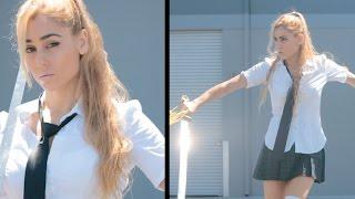 Schoolgirl vs Schoolboy Tai Chi Sword Fight