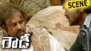 Rivals Blasts Convoy And Stabs Mohan Babu - Stunning Action Scene - Rowdy Movie Scenes