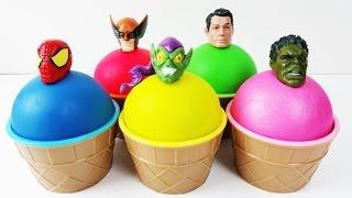 Learn Colors Play Doh Superhero Ice Cream Surprise Toys Peppa Pig Finger Family Nursery Rhymes Kids