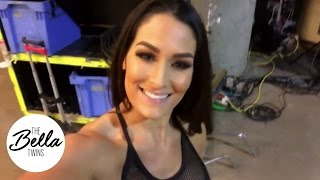 Nikki gets ready backstage before her match at WWE TLC!