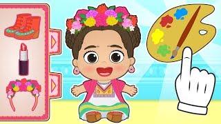 BABY LILY 🌺 Dresses up as Frida Kahlo | Educational Cartoons