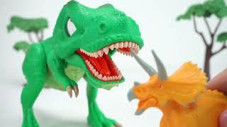 공룡메카드 SD 타이니소어 티라노 등장! 공룡메카드 액션피규어 스테고사우르스 티라노사우루스 브라키오사우루스 트리케라사우루스를 무찌르고 식량을 구하자! | 토이문