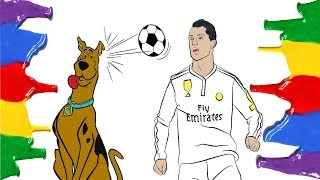 Scooby Doo Vs Cristiano Ronaldo - Coloring Pages Funny Video For Children