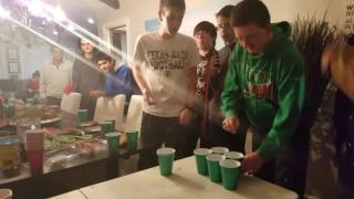 Tea and salt pong (vomit warning)