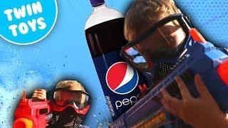 Nerf War:  The Secret Weapon Pepsi Chugging Challenge Kids React