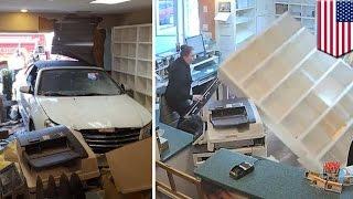 Crazy car crash: Animal hospital staff uninjured as car crashes through clinic wall - TomoNews